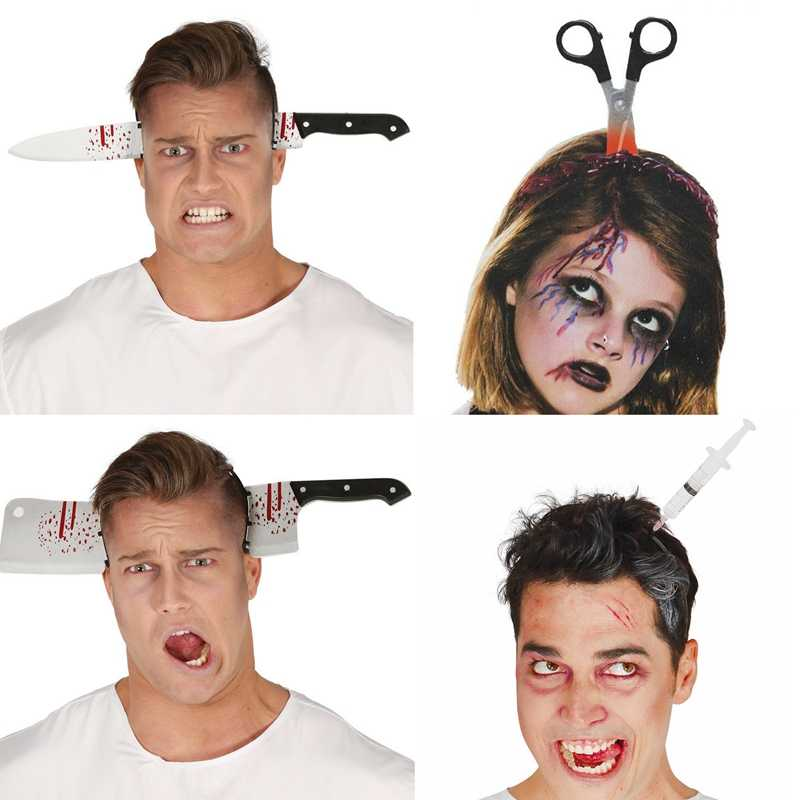 2019 Halloween Decoration Props Accessories Horror Halloween Headband Knife Fake Blood Perform Props Halloween Party Supplies