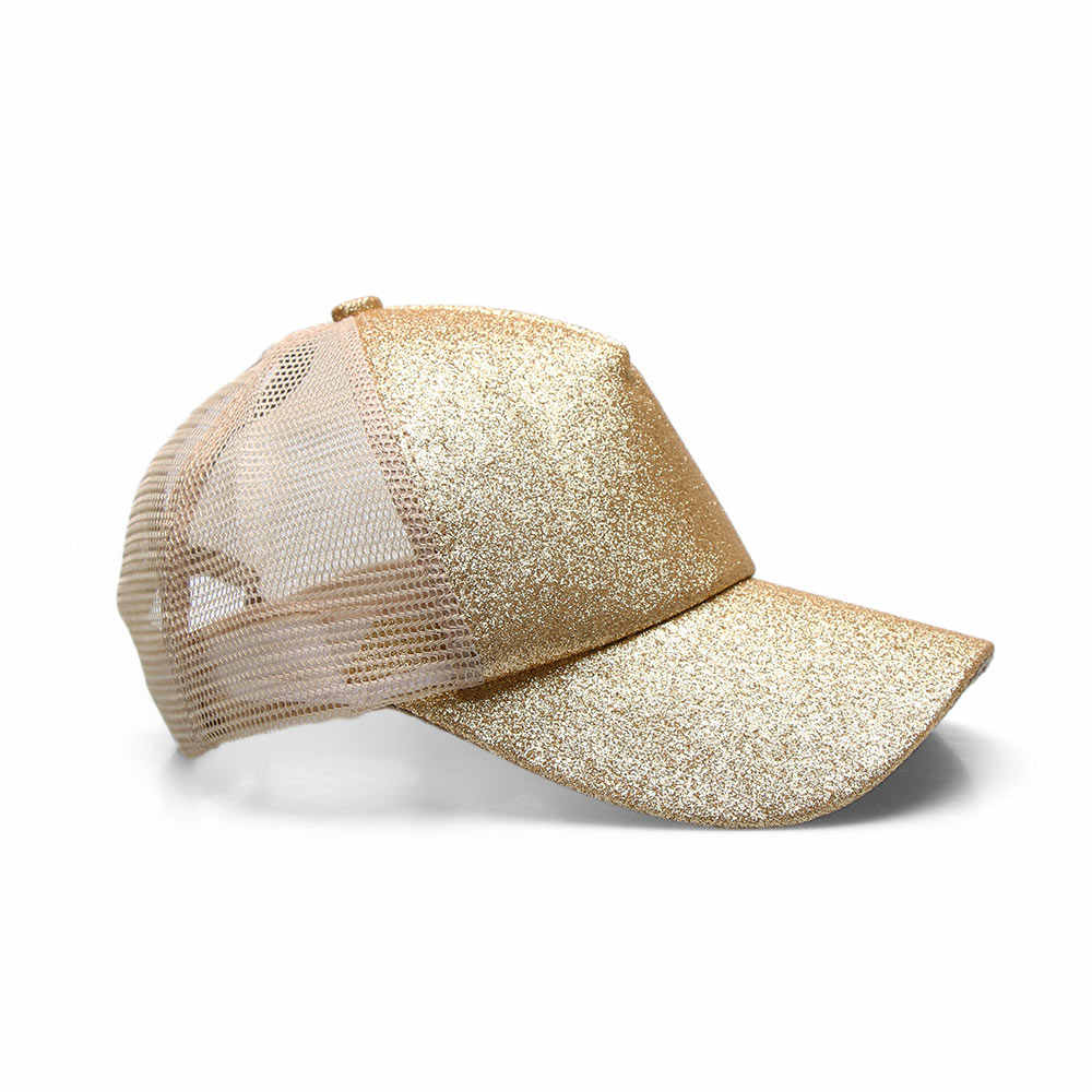 53e4a93b okdeals 1 PC 2018 Glitter Ponytail Baseball Cap Women Snapback Hat Summer  Messy Bun Mesh Hats