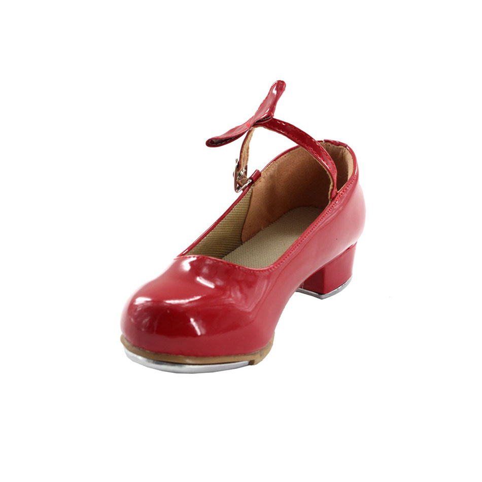 MSMAX YZ-07 Children Shoes Girls Tap Shoes Patent Leather Square Heel Teacher Stage Tap Shoes For Kids