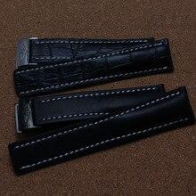 De alta Calidad Negro sin patrón Del grano Del Cocodrilo Correa de Cuero Con Hebilla de acero Inoxidable Relojes Accesorios 22mm 24mm