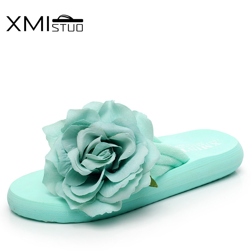 XMISTUO slippers ladies students flat with towels cloth with flip flops with simple and lovely beach 3D flowers cool slippers