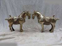 Free Shipping 8 China silver carved Feng Shui beautiful lucky horse pair Sculpture Statue