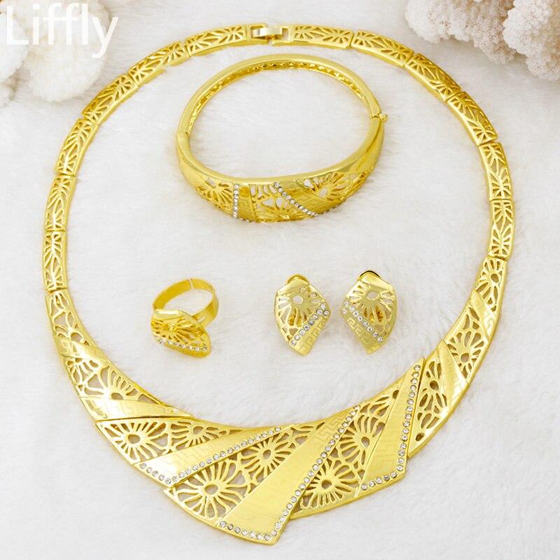 24 Wedding Anniversary Gift: Liffly New Fashion Creative 24 Gold Jewelry Sets Crystal