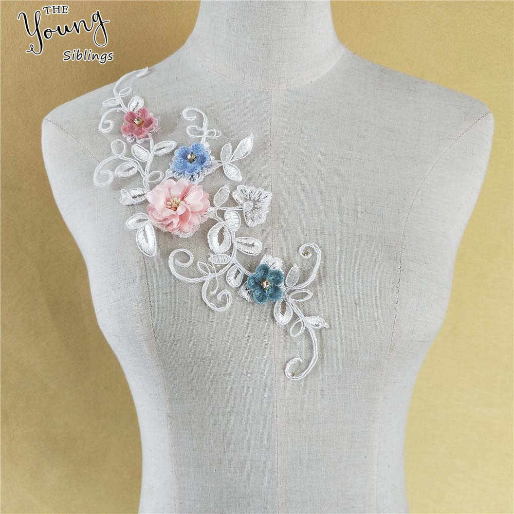 Tela de costura del escote del cordón del bordado de La Flor 3D, cuello del cordón DIY para el vestido de novia hecho a mano suministros de costura accesorios de ropa