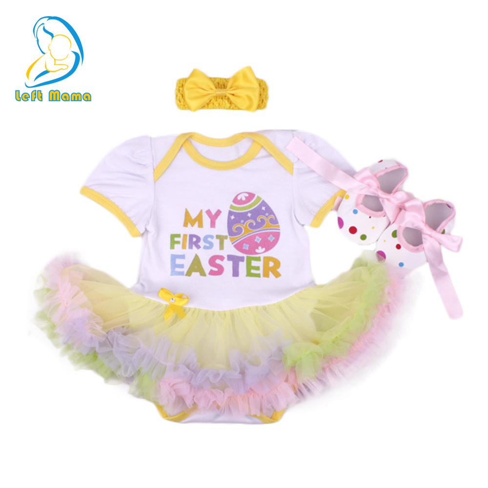 Newborn Easter Clothes Baby Girls Clothing Set My First Easter Style Baby Clothes Set Ruffle Tutu Dress+Headband+Shoes 3pcs Set 3pcs set newborn infant baby boy girl clothes 2017 summer short sleeve leopard floral romper bodysuit headband shoes outfits