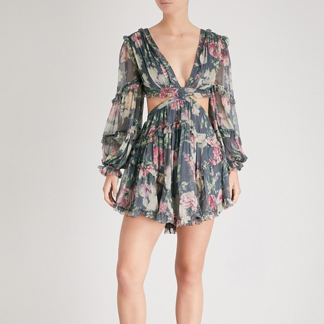 339c0a49da0e Women Iris Cutout Silk-georgette Dress V-neck Open Back Charcoal Floral  Print Lace