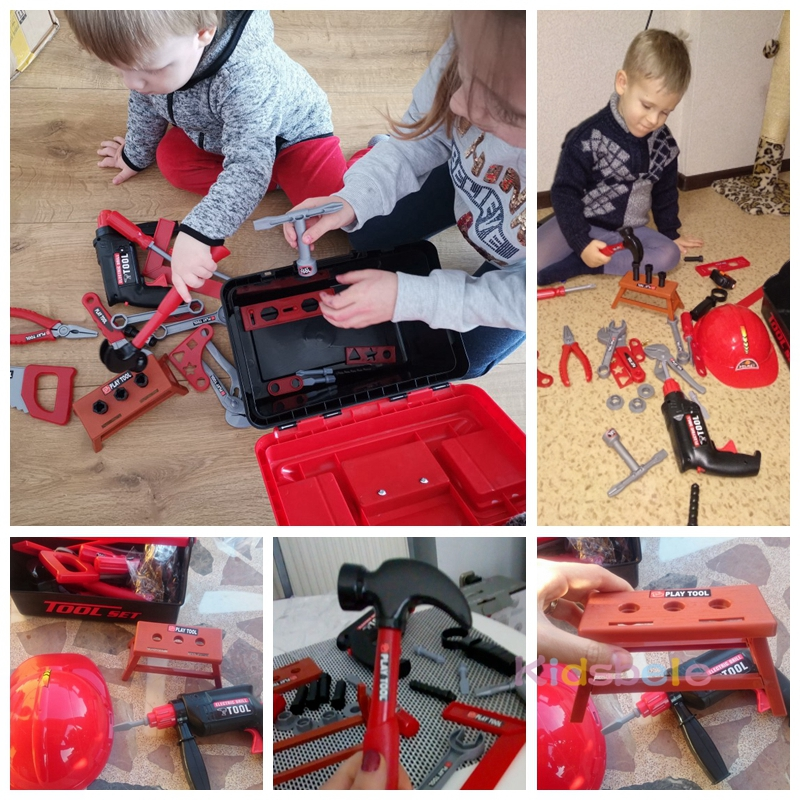 Kids Toolbox Kit Educational Toys Simulation Repair Tools Toys Drill Plastic Game Learning Engineering Puzzle Toys Gifts For Boy 6