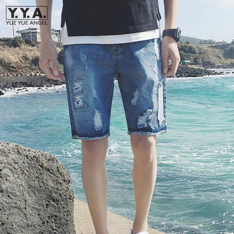 Summer Beachwear Mens Short Jeans Straight Loose Knee Length Shorts For Men Personality Hole Ripped Plus Size Male Denim Shorts цена 2016