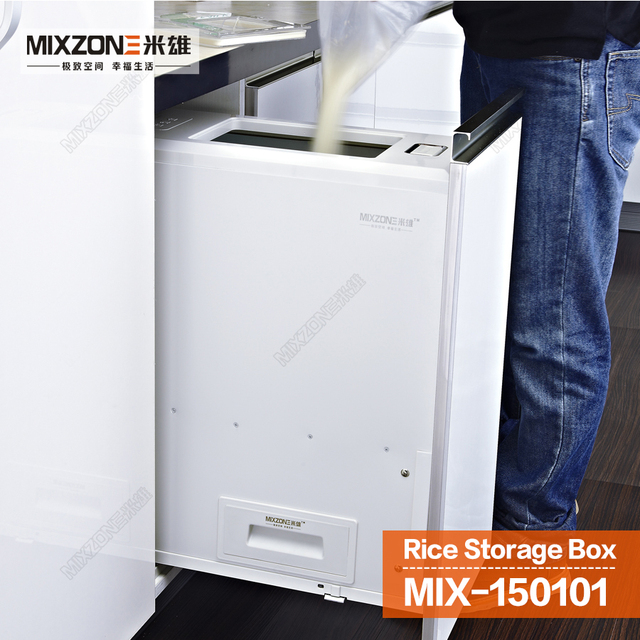 Wonderful Kitchen Cabinet Rice Box Pull Out Quantitative Rice Dispenser  Soft Closeu0026Stop Sliding Rice Storage Box