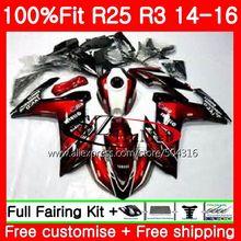 Escuro preto vermelho Injeção Para YAMAHA YZF R3 YZF-R3 YZF-R25 R25 14 15 16 76MC. 13 R 3 YZFR3 YZFR25 R25 R3 2014 2015 2016 Carenagens kit