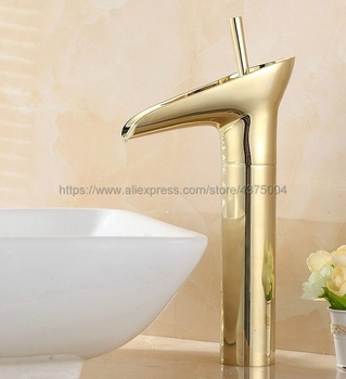 цена на Luxury Gold Color Brass Bathroom Faucet Basin Mixer Bathroom Tap Bathroom Sink Basin Mixer Tap Ngf057