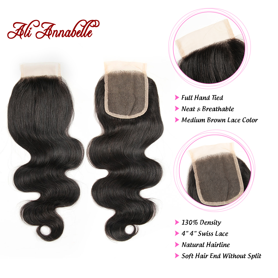HTB1La4KdW5s3KVjSZFNq6AD3FXa1 ALI ANNABELLE HAIR Brazilian Body Wave Remy Human Hair Bundles With Closure Brazilian Human Hair Weave Bundles with Closure