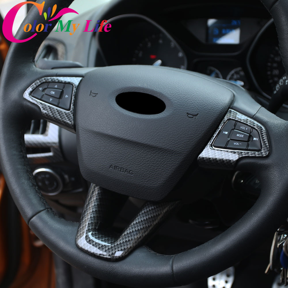 Color My Life Car 3Pcs Set Interior Steering Wheel Protection Trim Sticker for Ford Kuga Escape Ecosport 2017 2018 Accessories