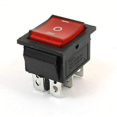 6Pins 3Way DPDT Panel Mount Boat Rocker Switch Red 15A/250V 20A/125V AC 5 x red illuminated light on off dpst boat rocker switch 16a 250v 20a 125v ac