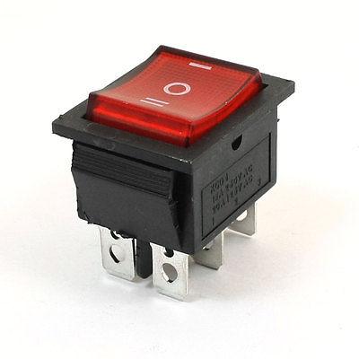 6Pins 3Way DPDT Panel Mount Boat Rocker Switch Red 15A/250V 20A/125V AC [vk] av044746a200k switch pushbutton dpdt 6a 125v switch