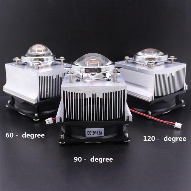 Disipador de calor de aluminio LED, ventilador de refrigeración de 100W + lente de 60 grados 90 grados 120degree44mm + Reflector Brack