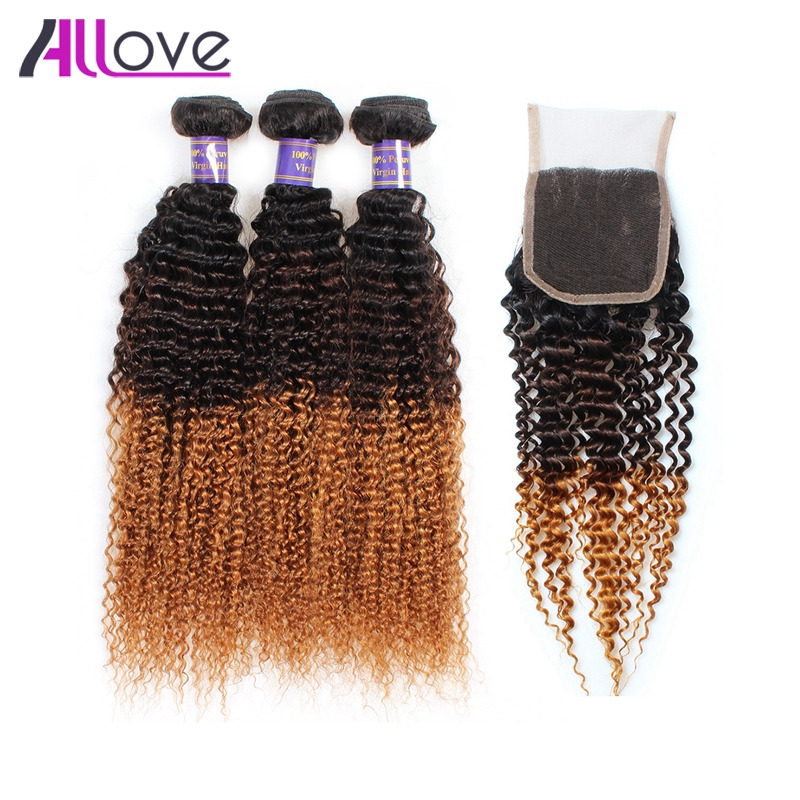 Allove Ombre Human Hair Weave Bundles With Closure 1B/4/30# Ombre Kinky Curly Hair 3 Piece Brazilian Hair Weave Bundles