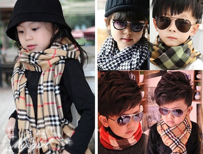 2017 Fashion Toddler Infant Girl Bobs Baby Warm Winter Scarf Plaids New Muffler Neckerchief Classic Scarves Accessories ...