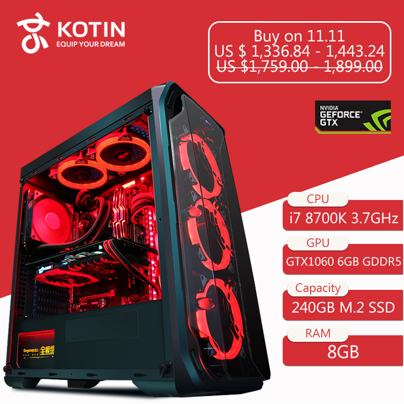 GETWORTH R35 High End Gaming Desktop Computer Desk I7 8700k GTX1060 240GB  SSD 8GB RAM Z370 Brand New Red Series PC Water Cooling