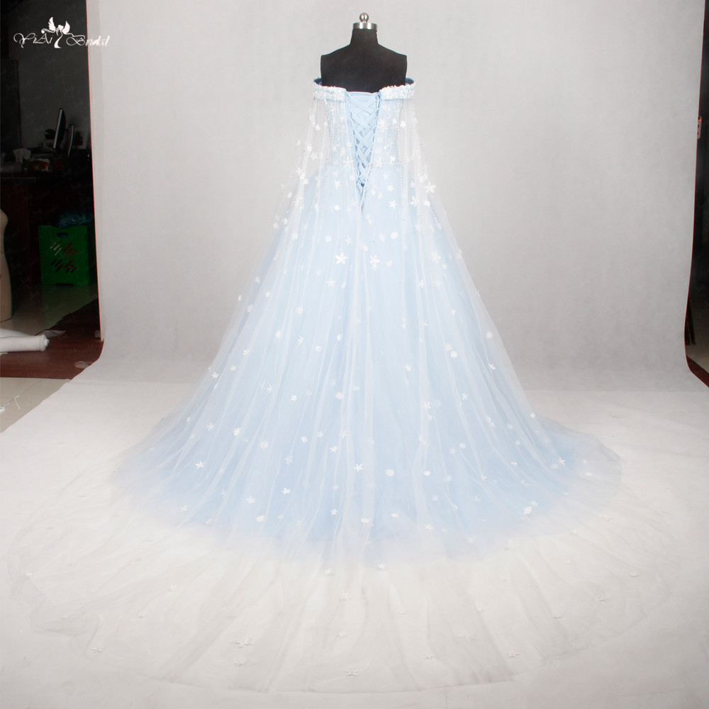 RSW1134 Light Blue Wedding Gown Wedding Dress 2016 Off The Shoulder ...