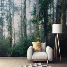Customized high-end wallpaper Nordic wind fog forest background wall painting waterproof material