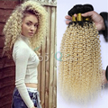7A Peruvian Virgin Hair Extensions Big Kinky Curly Ombre Two Tone 1B/613 Blonde Dark Roots Colour Full and Thick Weave 3 Bundles
