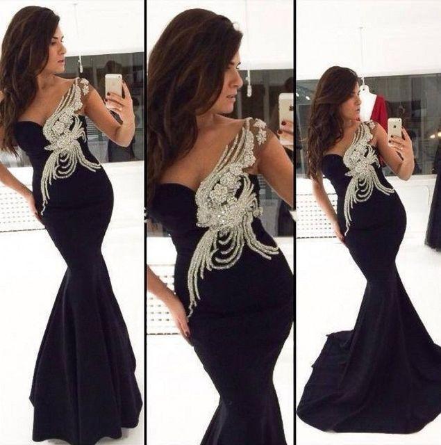 24bc4aa657 Negro gasa de la sirena vestido de noche 2015 elegante Sexy lentejuelas cuentas  vestido Backless del