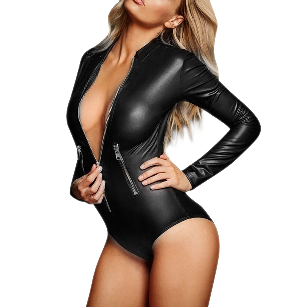 PU Leather Bodysuit Women Jumpsuit Faux Leather PVC Wet Look Bodysuit Catsuit Leotard Playsuit Overalls summer women jumpsuit