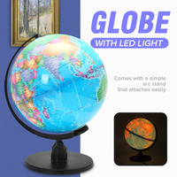 25CM World Earth Globe Map Geography LED Illuminated for Desktop Decoration Education Home Office Aid Miniatures Kids Gift