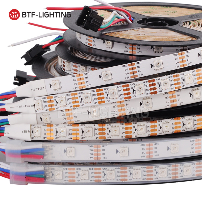 WS2813 LED пикселей газа 1 М/4 м/5 м двойной сигнала 30/60/144 пикселей/светодиодов/м, WS2812B обновленный черный/белый PCB, IP30/IP65/IP67 DC5V