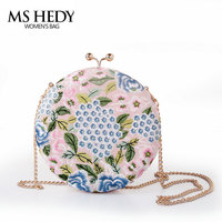 MS HEDY Embroidery Retro Evening Bag Luxury Round Wedding Party Purses Designer Dinner Bag Clutch Wallet