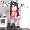 2017 Plus Size Summer Women White Tee Tops Long Sleeve Polka Dot Cartoon Print Girls Cotton T-shirt harajuku funny t shirts 1575