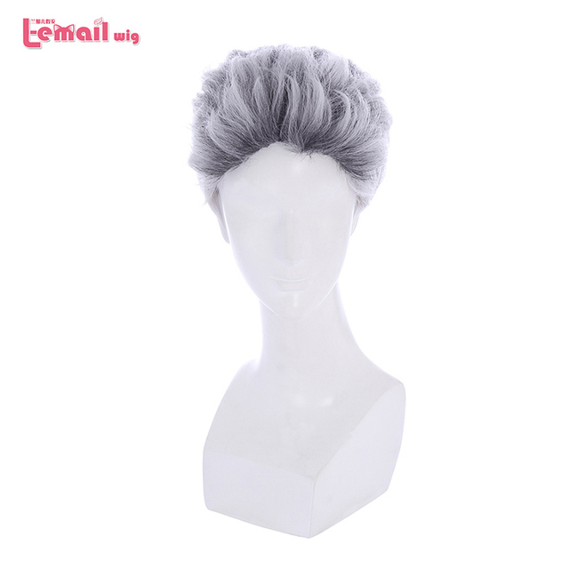 L email wig New Movie Carlos Character Cosplay Wigs 25cm Short Mixed Color Heat Resistant Synthetic Hair Perucas Cosplay Wig