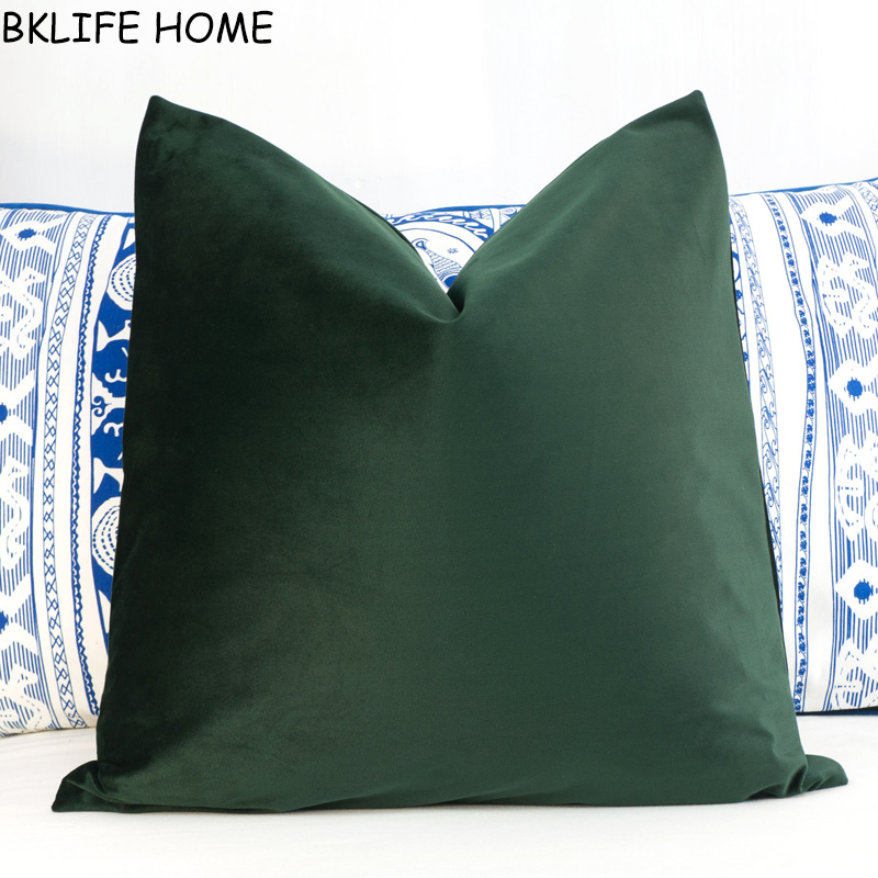 Soft Olive Green Velvet Cushion Cover