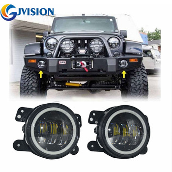 4 inch 6000K Halo Ring DRL LED fog Driving light for Jeep Wrangler JK TJ LJ Dodge Jeep Grand Cherokee Chrysler 300/PT Cruiser