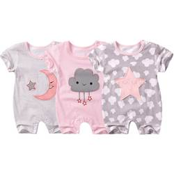 Новые Летние Стильные Детские комбинезоны короткий рукав для новорожденных Детские Одежда для девочек и мальчиков милый мультфильм