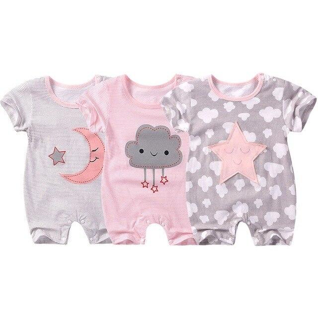 2019 Verão a roupa Do Bebê recém-nascido macacão de bebê manga Curta Bebê Da Menina Do Menino roupas de algodão Macacão de bebê roupa de bebes