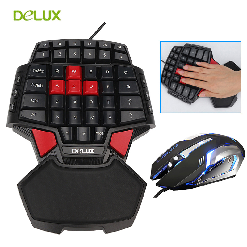 Delux del Giocatore di Gioco T9 Tastiera e Mouse Combo Set PC Professionale Sola Mano Tastiera Cablata con 3200 dpi USB LED gioco Del Mouse