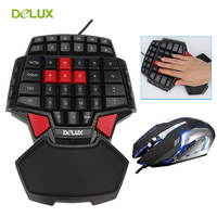 Delux Gamer Gaming T9 Keyboard and Mouse Combo Set PC Professional Single Hand Wired Keyboard with 3200 DPI USB LED Game Mouse
