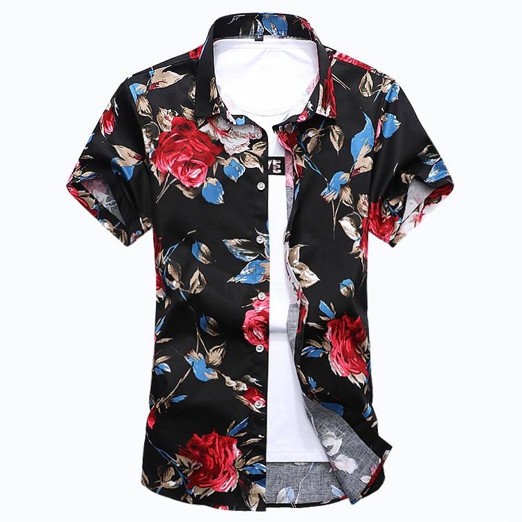 ZhenZhou 2018 Yaz Kısa Kollu Erkek Gömlek Çiçek Erkek Giysileri - Erkek Giyim - Fotoğraf 3