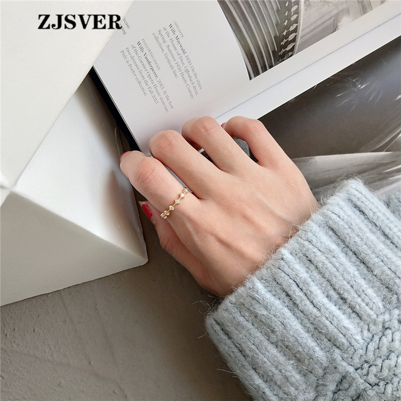 ZJSVER Korean Jewelry 925 Sterling Silver Rings Golden Retro Simple Zircon Setting Adjustable Women Ring For Party Or Festival in Rings from Jewelry Accessories