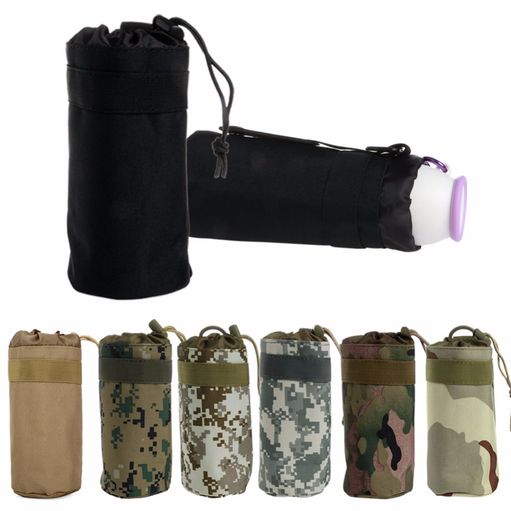 Men Women Military Climbing Water Bottle Bag MolleTactical Travel Water Kettle Pouch Army Carry Bag Hiking Camping Sport Bags
