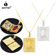 все цены на Middle East Arabia Hot Sale Quran Pendant Necklace for Women's Fashion Plating yellow gold color Photo Box Memorial Necklace онлайн
