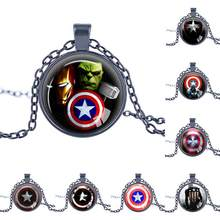 Marvel Avengers Superheroes Ironman Captain America Necklace Toy Spiderman Spider man Thor Iron man Vision Metal Pendant Toys(China)