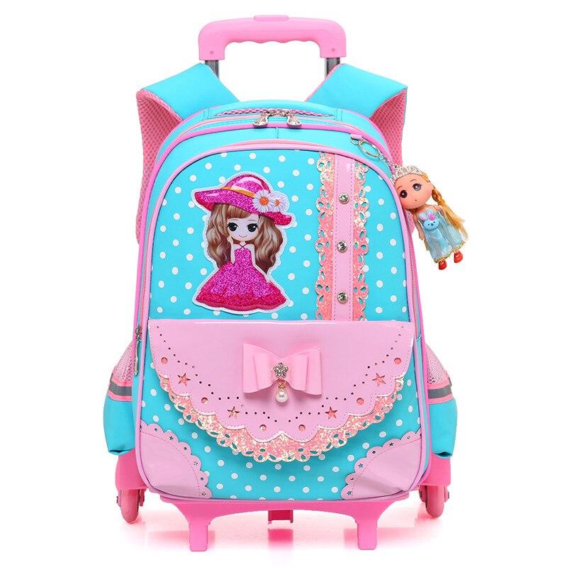 Children Cartoon Trolley School Bag Backpack Wheeled School Bag For Grils Kids 2/6 Wheels Schoolbag Student Backpacks Bags
