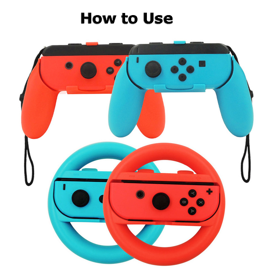 Nintend Switch Carrying Case Storage Bag & Joy-con Charger Handle Grips and Steering Wheels  for Nintendo Switch 1