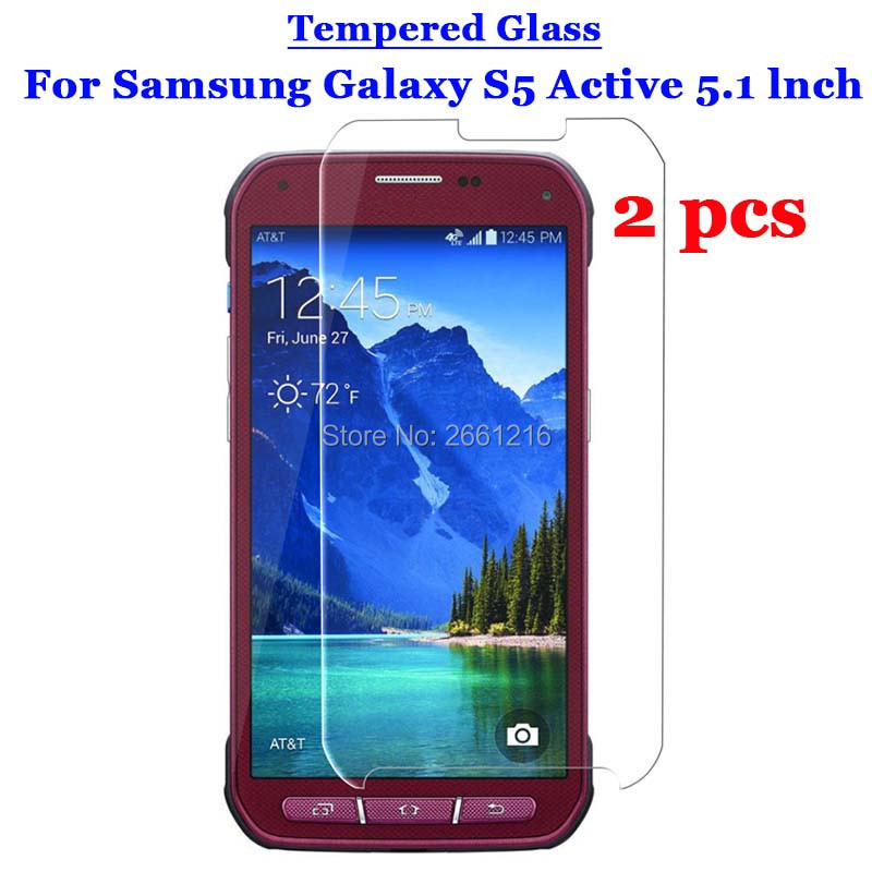 Galleria fotografica 2 Pcs/Lot S5 Active Tempered Glass 9H 2.5D Premium Screen Protector Film For Samsung Galaxy S5 Active G870 5.1