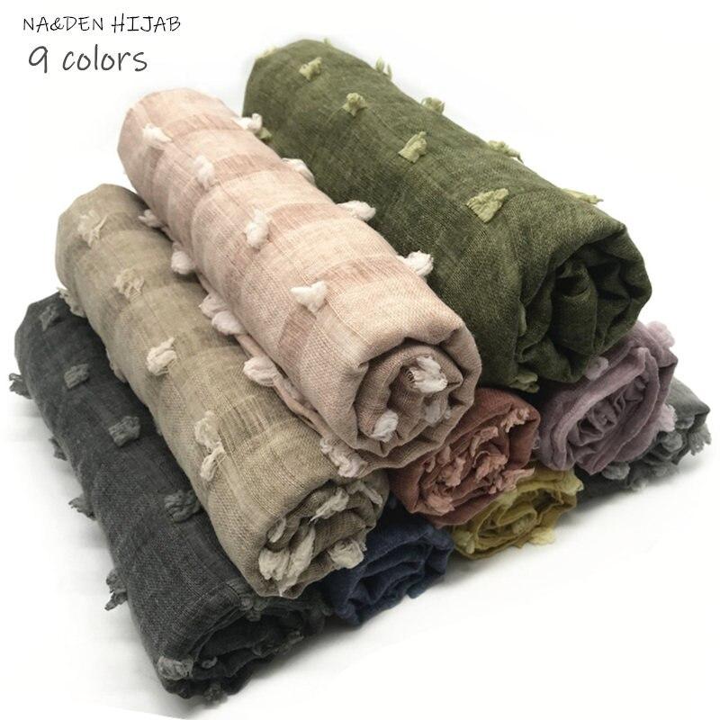 NEW soft plain hijab scarf ball fur beggar style nature Muslim hijabs women scarves shawls bandana