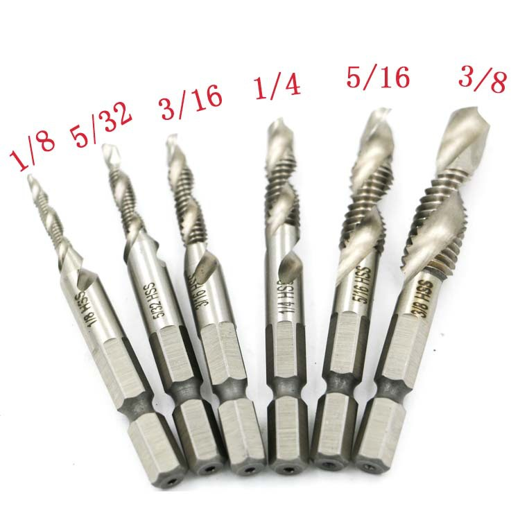 6pcs 1/8-3/8 Inch  Thread HSS Combination Drill Tap Bit Set 1/4 Inch Hex Shank Deburr Countersink Bits