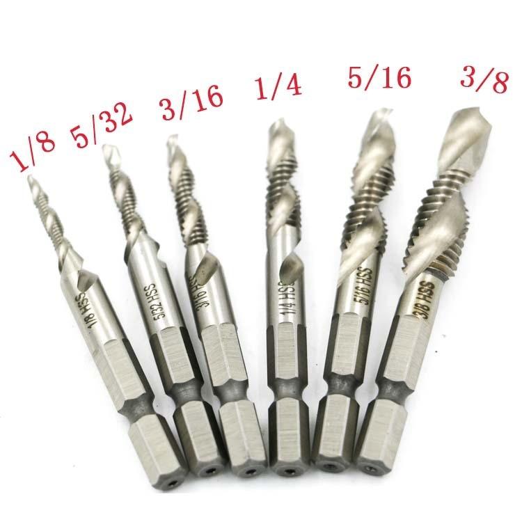 6pcs 1/8-3/8 Inch  Thread HSS Combination Drill Tap Bit Set 1/4 Inch Hex Shank Deburr Countersink Bits